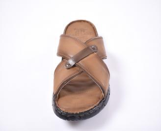 Мъжки чехли естествена кожа кафяви JURI-1012660