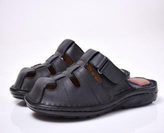 Мъжки чехли естествена кожа черни AHAZ-1013884