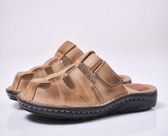Мъжки чехли естествена кожа бежови TWEZ-1013994