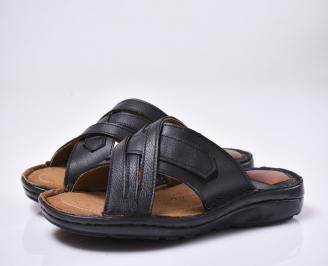 Мъжки чехли естествена кожа черни LQKM-1013998