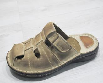 Мъжки чехли естествена кожа бежови QGZO-23842