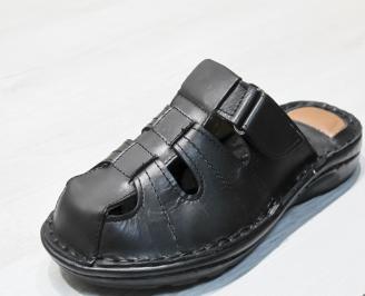 Мъжки чехли  естествена кожа черни ZRCL-24135