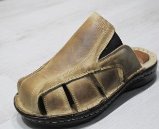 Мъжки чехли естествена кожа бежови WMQJ-24136