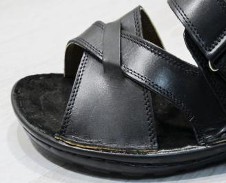 Мъжки чехли  естествена кожа черни YDFG-24137