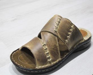 Мъжки чехли естествена кожа бежови WPIK-24141