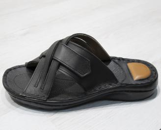 Мъжки чехли  естествена кожа черни TEWK-24143