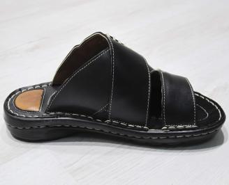 Мъжки чехли  естествена кожа черни CROC-24148