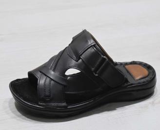 Мъжки чехли   естествена кожа черни HCKM-24556