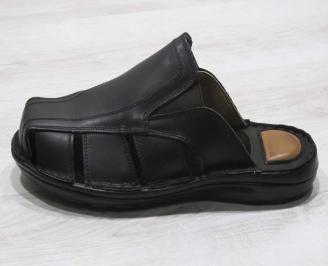 Мъжки чехли  естествена кожа черни HORC-24561