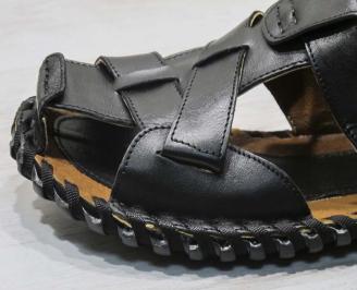 Мъжки чехли естествена кожа черни QMGR-24665