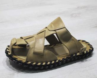 Мъжки чехли естествена кожа бежови GCOL-24667