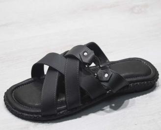 Мъжки чехли естествена кожа черни ZYFC-24669