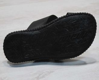 Мъжки чехли естествена кожа черни ZLWL-24671
