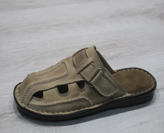Мъжки чехли естествена кожа бежови CMLV-24672