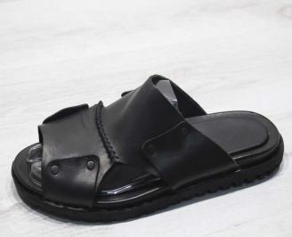 Мъжки чехли естествена кожа черни CKMZ-24673