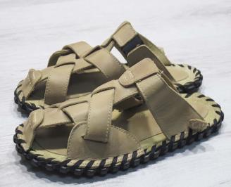Мъжки чехли естествена кожа бежови XBCX-24674