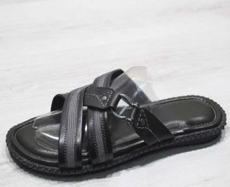 Мъжки чехли естествена кожа черно сиви JHTH-24675