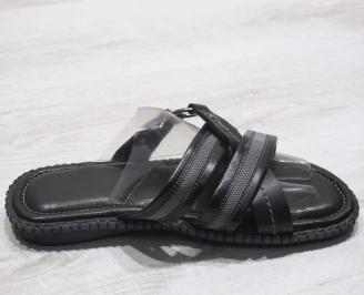 fb8107a3958 Мъжки чехли естествена кожа черно сиви JHTH-24675 - Чехли и сандали