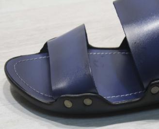 Мъжки чехли  естествена кожа тъмно сини JNTY-24676