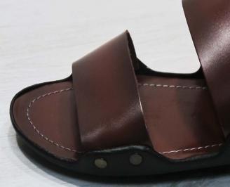Мъжки чехли естествена  кожа червени CBDL-24677