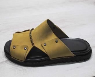 Мъжки чехли естествена кожа камел WBFF-24678