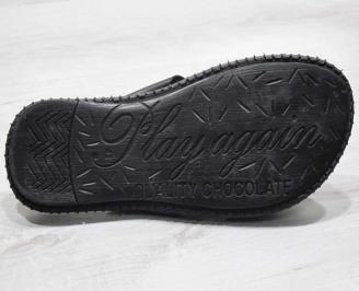 Мъжки чехли естествена кожа черни ANHY-24679