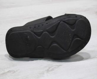 Мъжки чехли естествена кожа черни IBVB-24680