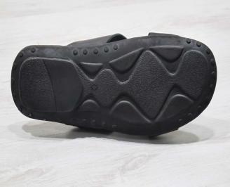 Мъжки чехли естествена кожа черни JGIP-24682