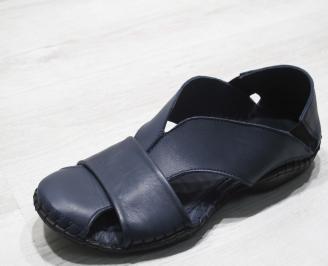 Мъжки чехли естествена кожа  тъмно сини PMPO-24828