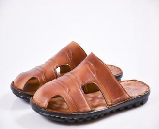 Мъжки чехли естествена кожа кафяви TDEH-27427