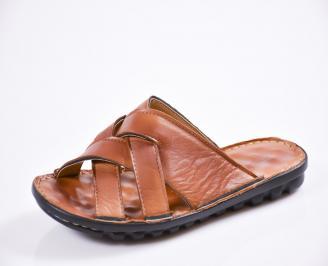 Мъжки чехли естествена кожа кафяви NVLU-27430