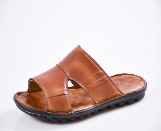 Мъжки чехли естествена кожа кафяви PSNK-27433