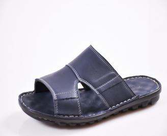 Мъжки чехли естествена кожа сини AZIU-27434