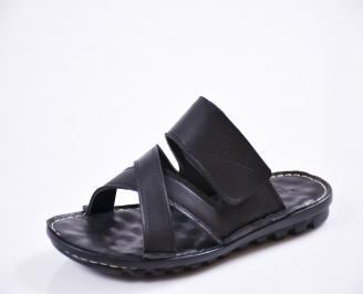 Мъжки чехли естествена кожа черни PRNK-27436
