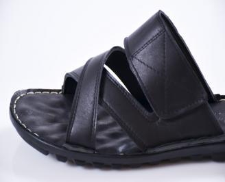 b20169f059a Мъжки чехли естествена кожа черни PRNK-27436 - Чехли и сандали