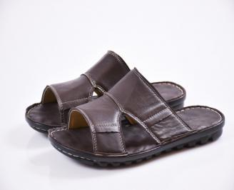 Мъжки чехли естествена кожа кафяви SSXR-27437