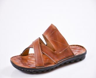 Мъжки чехли естествена кожа кафяви KLQS-27439