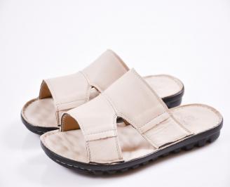 Мъжки чехли естествена кожа бежови TTIR-27441
