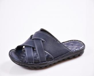 Мъжки чехли естествена кожа сини ZNBN-27442