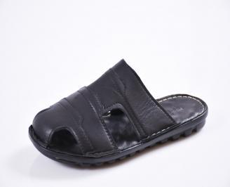 Мъжки чехли естествена кожа черни HYNW-27443