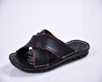 Мъжки чехли естествена кожа черни EKYR-27598