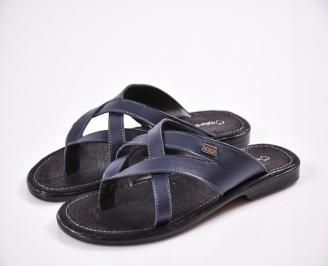Мъжки чехли естествена кожа сини FQBR-27609