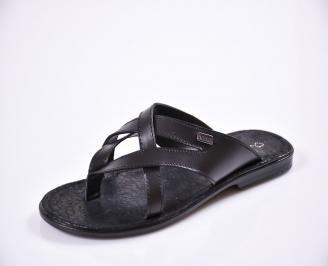 Мъжки чехли естествена кожа черни LKXC-27610
