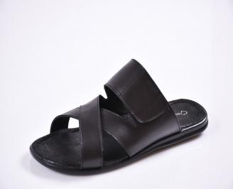 Мъжки чехли естествена кожа черни LMAB-27613