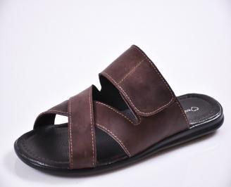 Мъжки чехли естествена кожа кафяви SZQP-27614