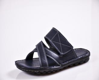 Мъжки чехли естествена кожа сини QKIL-27827
