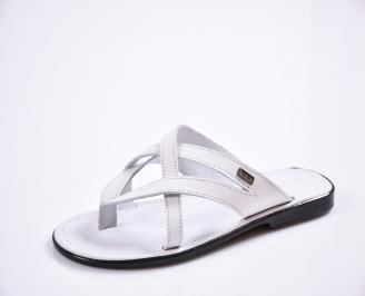 Мъжки чехли естествена кожа бели XYAC-27835