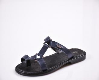 Мъжки чехли естествена кожа сини QLNR-27836