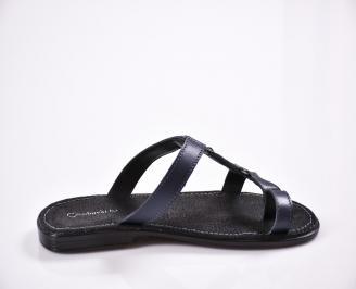 19048c7239f Мъжки чехли естествена кожа сини QLNR-27836 - Чехли и сандали