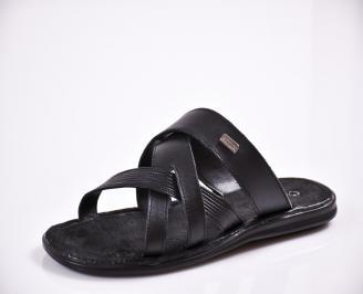 Мъжки чехли естествена кожа черни OZBK-27837
